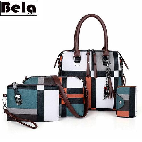 Plaid Pattern  4 Piece Handbag Tassel  Set