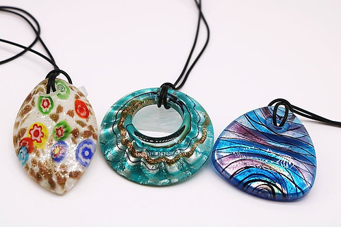 3PCS Murano  Glass Pendant Set