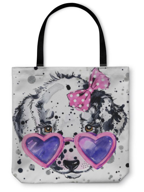 Tote Bag, Dalmatian Puppy Dog Tshirt Graphics Puppy Dog Illustration With Splash