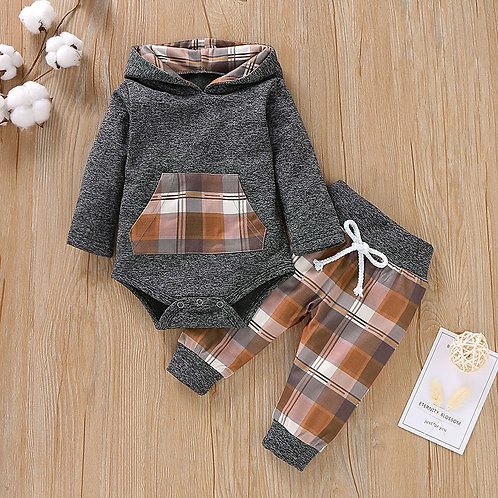3m to 18m Plaid Hooded Pullover Romper Set