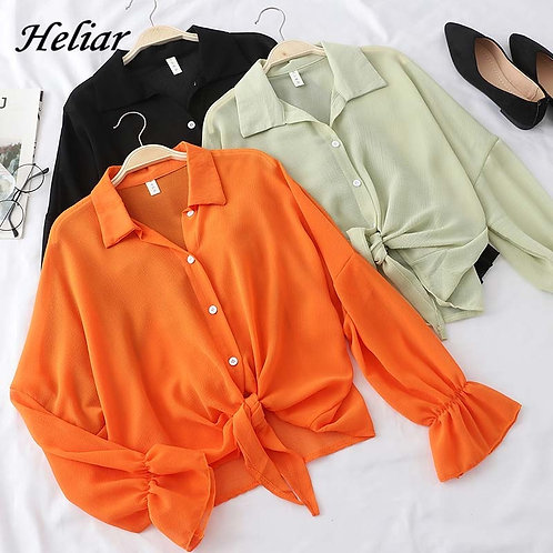 Long Sleeve Buttoned Tied Waist Blouse