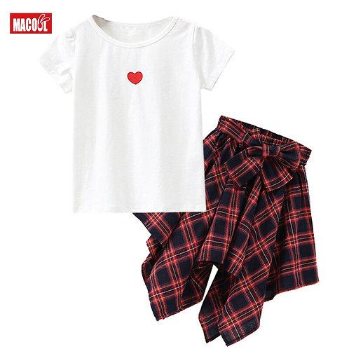 Girl Plaid Skirt Suit Set