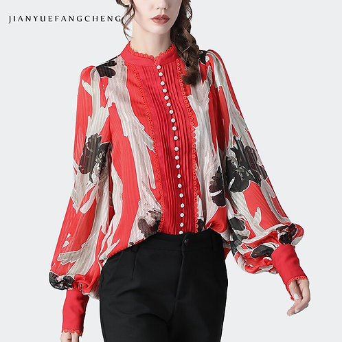 Floral Printed Chiffon Blouse With Lantern Sleeves - up to 4XL