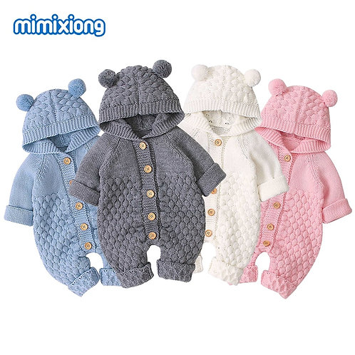 Knitted Long Sleeve Baby Romper - up to 18m