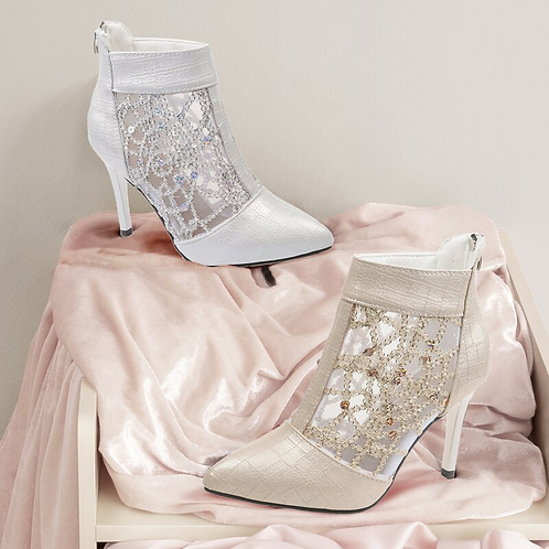 Lace Mesh Pointed High Heel Boots