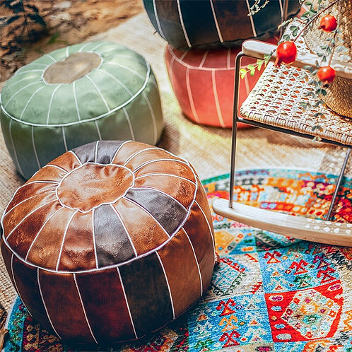 Moroccan Round Seat Cushion, Ottoman or Foot Stool