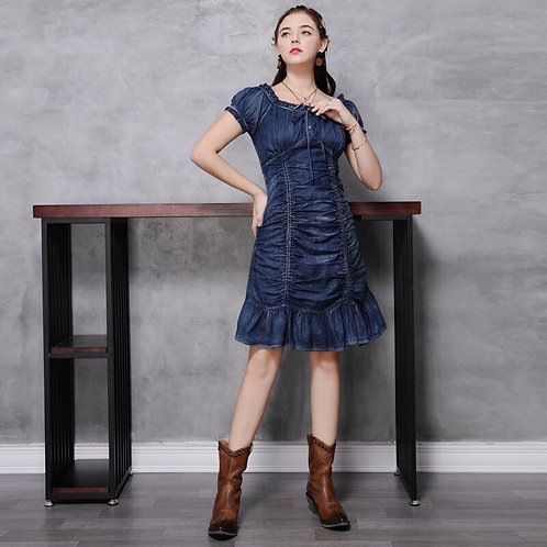 Slim Denim Retro Pleated Ruffle Dress