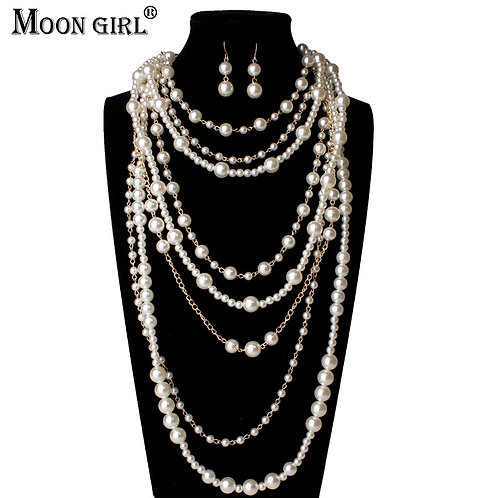Multi-Layer Simulated Pearls Long Chain Necklace