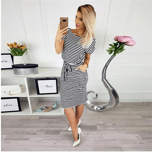 Casual Short Sleeve Black  w/ Pocket Dress