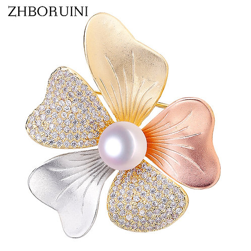 Fine Italian  Natural Freshwater Pearl  Tricolor Brooch