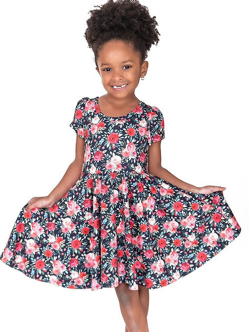 Navy & Pink Floral Twirl Hugs Dress