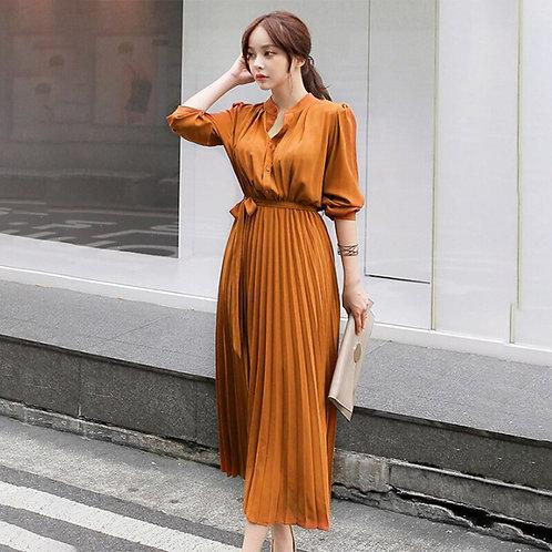 Pleated Vintage Chiffon Long Sleeve  Dress