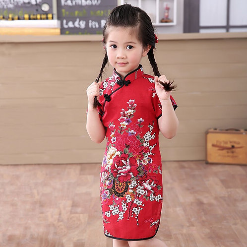 Girl Traditional Chinese Cotton Short Sleeve Dress
