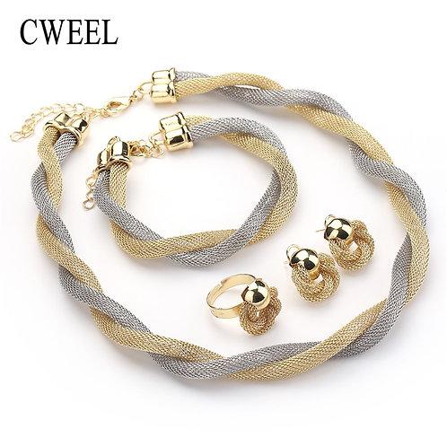 Twist Weave Choker Necklace Set