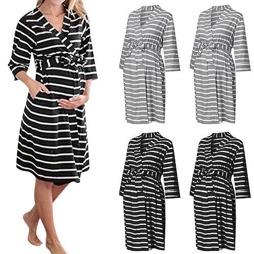 Half Sleeve Stripe With Sash Maternity Dress