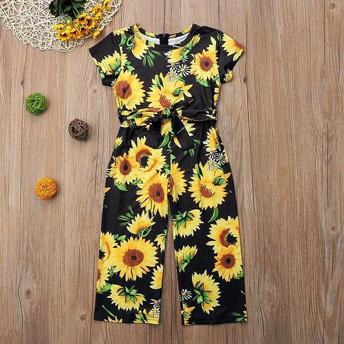 Toddler Short Sleeve Sunflower Print Jumpsuit
