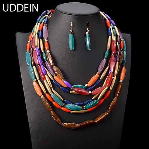 Bohemian Statement Necklace & Earring Set