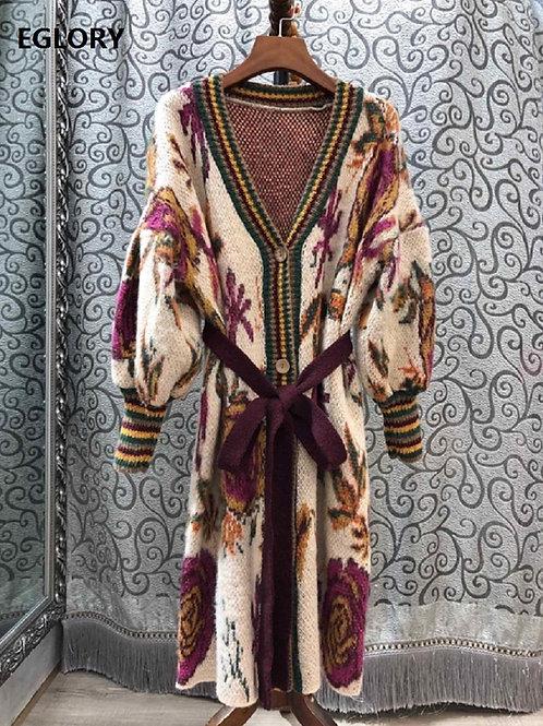 Vintage Pattern  Belted Long Sleeve Wool  Cardigan