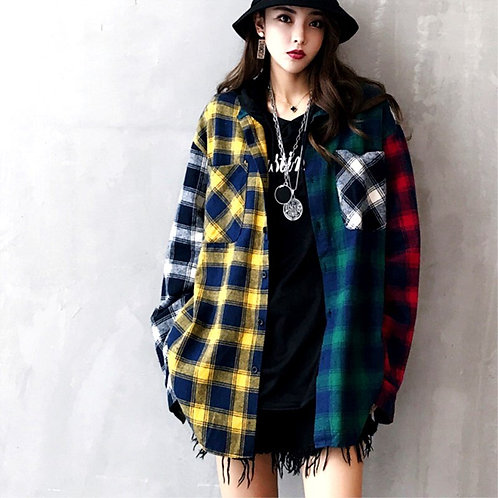 Tartan Plaid Long Sleeve Baggy  Oversized Top