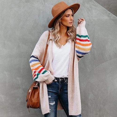 Rainbow Striped Boho Cardigan