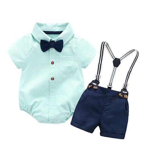Romper + Bow + Navy Shorts + Suspenders Belt Set