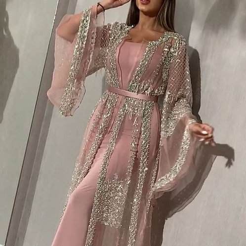 Long Sleeve Lace & Sequins Maxi Dress - 2 pcs