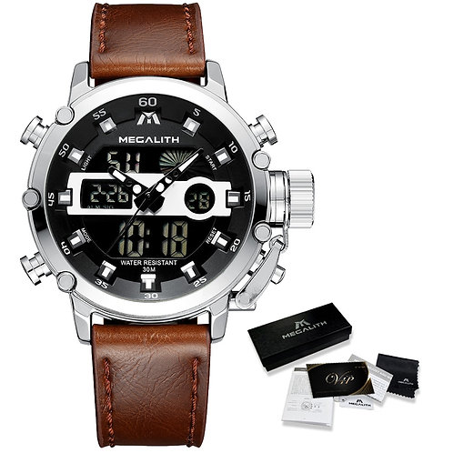 Leather Waterproof Quartz  Multifunction Chronograph Wrist Watch