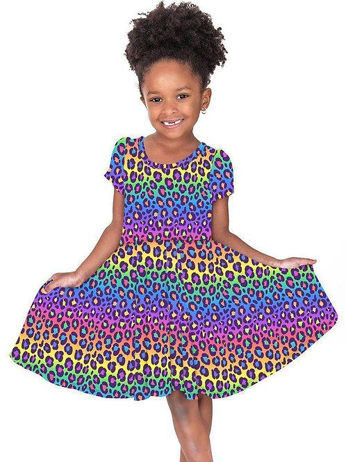 Rainbow Leopard Hugs Collection Dress
