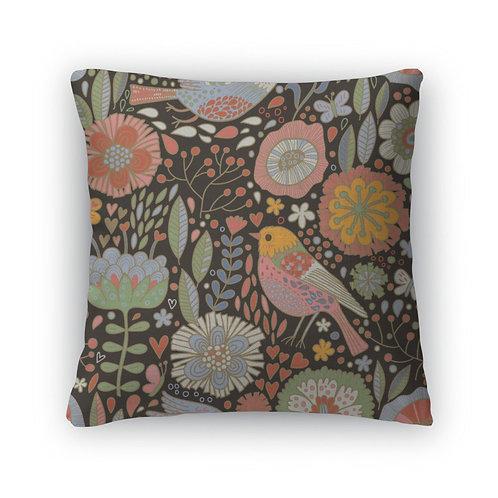 Throw Pillow, Retro Floral Pattern