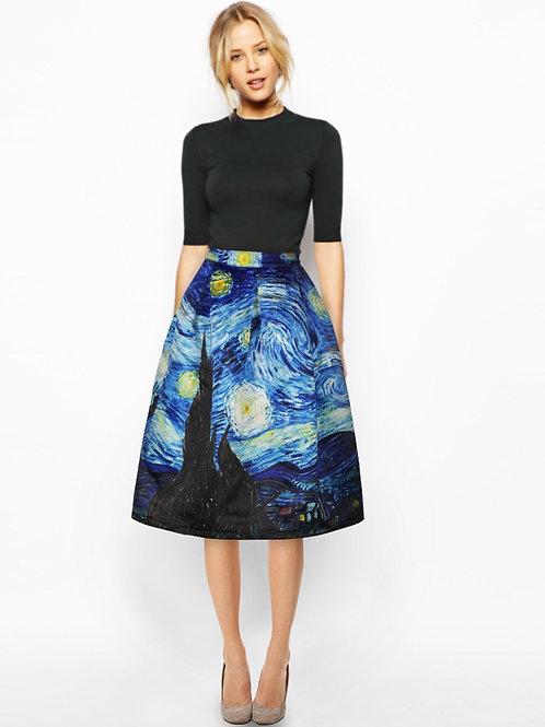 Van Gogh Vintage High Waist Skirt - up to 4XL
