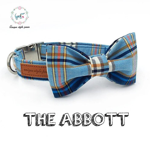 Blue Plaid Pet Collar With Bow Tie And Leash