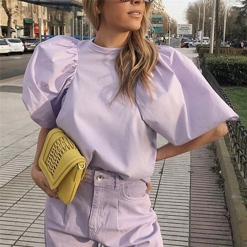 Violet Puff Sleeve Style Blouse