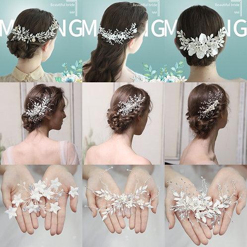 Headband Comb with Clip - Pearl Rhinestone Flower
