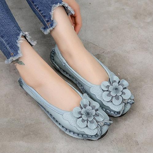 Handmade Genuine Leather Flower Slip on Loafers