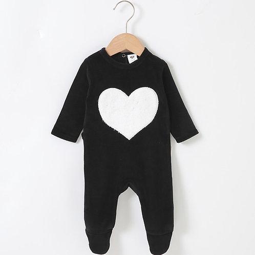Infant Romper Long Sleeves with Heart &  Footies