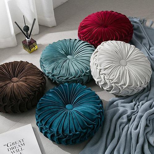 Velvet Pleated Round Floor Cushion Pillow