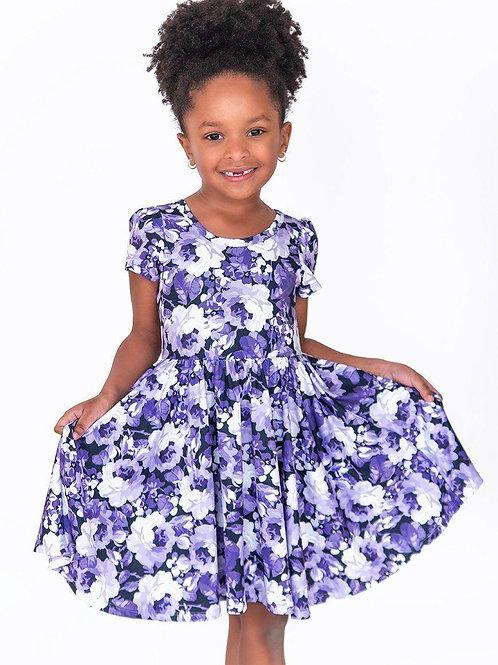 Purple Floral Watercolor Twirl Hugs Dress