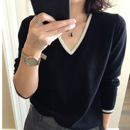 V-Neck Sweaters with Outline - up to 2XL