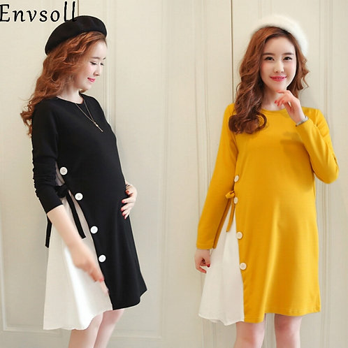 Autumn Long Sleeve Cotton Maternity  Dress
