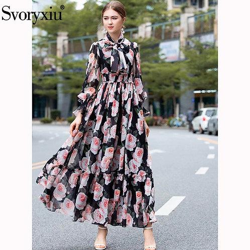 Svoryxiu Elegant Big Flower  Bohemian Maxi Dress