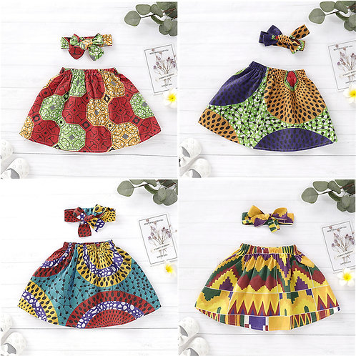 Girls African Cotton  Dashiki Skirt With Headband