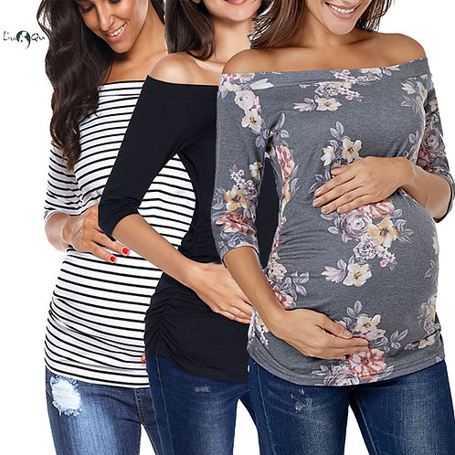 Pack of 3pcs  Maternity Off Shoulder Flattering Side Ruching  Tops