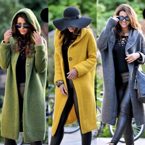 Hooded Long Knitted Oversized Cardigan