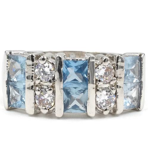 Ten Stone Bling Princess Cut Dusty Aqua Spinel Ring