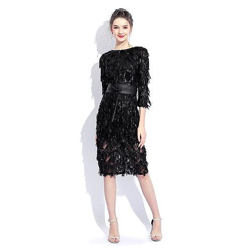 Half Sleeves Sheath Sequin Knee Length Cocktail Dress
