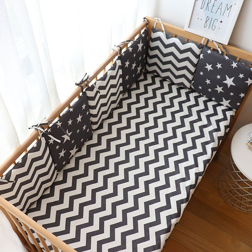 Nordic Thick Soft Bumpers For Crib - 6 Pcs Set