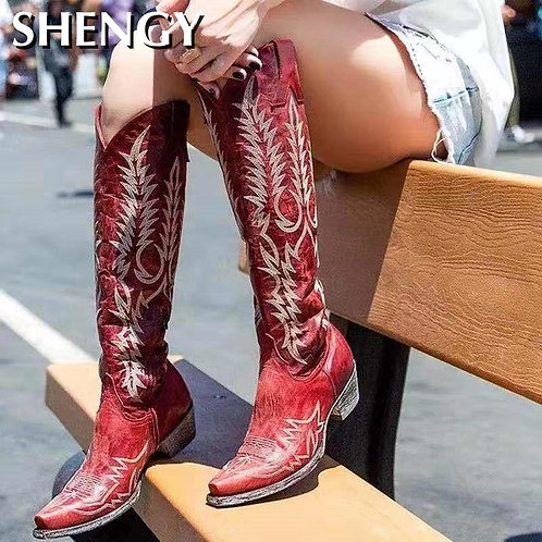 Vegan Leather Shoes Knee-High Cowboy Boots