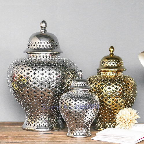 Retro Ceramics Hollow Decorative Storage Jar