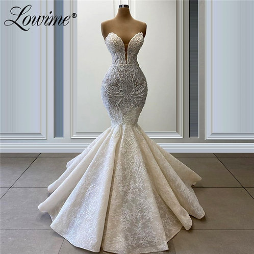 Mermaid Pearl & Lace Wedding Dress or Evening Gowns
