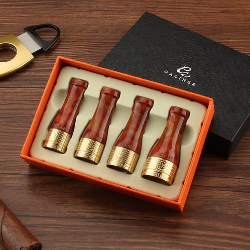 Silver, Gold  Or Pure Copper Resin Cigar Holder With Leatherette Tip